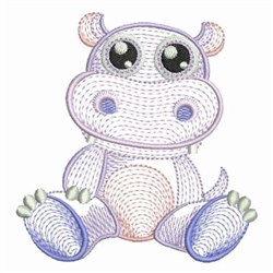 Rippled Baby Hippo embroidery design