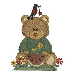 Country Bear & Watermelon embroidery design
