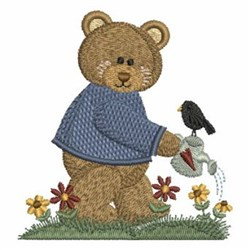Bear & Watering can embroidery design
