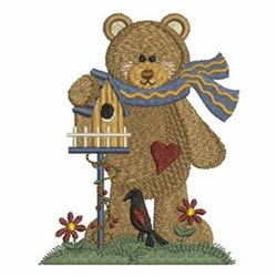 Country Bear & Birdhouse embroidery design