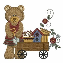 Country Bear & Wagon embroidery design