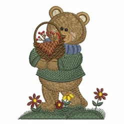 Country Bear & Flowers embroidery design