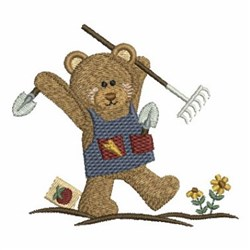Country Bear Gardening embroidery design
