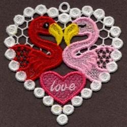 FSL Flamingos Love embroidery design