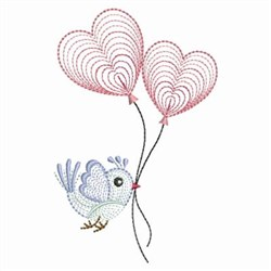Rippled Bird & Balloons embroidery design