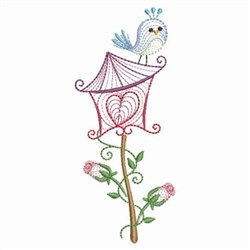 Rippled Floral Birdhouse embroidery design