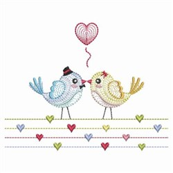 Rippled Birds & Hearts embroidery design