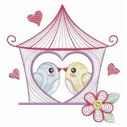 Rippled Birds Kissing embroidery design