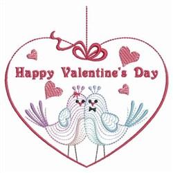 Rippled Valentine Birds embroidery design