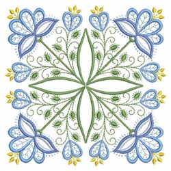 Blue Jacobean Block embroidery design
