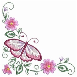 Pink Floral Butterfly embroidery design