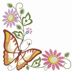 Floral Butterfly Corner embroidery design