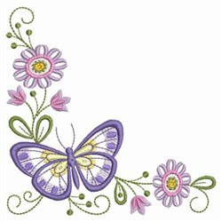 Purple Floral Butterfly embroidery design