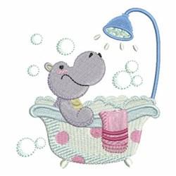 Bath Time Hippo embroidery design