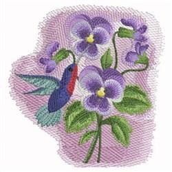 Watercolor Pansies & Hummingbird embroidery design