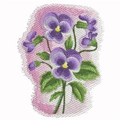 Watercolor Purple Pansies embroidery design