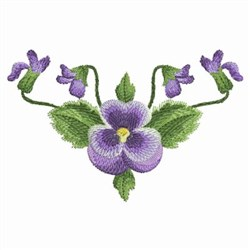 Watercolor Pansies Corner embroidery design