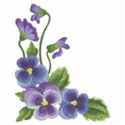 Watercolor Pansies Corner embroidery design