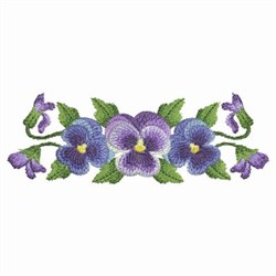Watercolor Pansies Border embroidery design