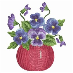 Watercolor Pansies Vase embroidery design