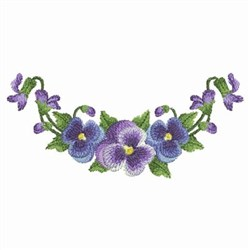Purple Watercolor Pansies embroidery design