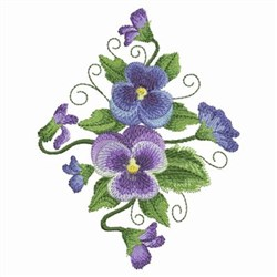 Watercolor Pansies Diamond embroidery design