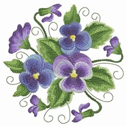 Watercolor Pansies Circle embroidery design