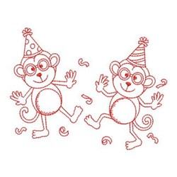Redwork Friends Monkeys embroidery design