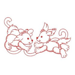 Redwork Friends Dogs embroidery design