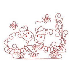 Redwork Friends Sheep embroidery design