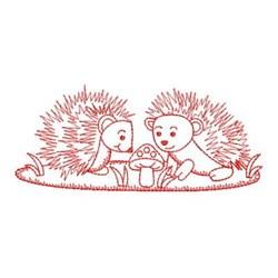 Redwork Friends Hedgehogs embroidery design