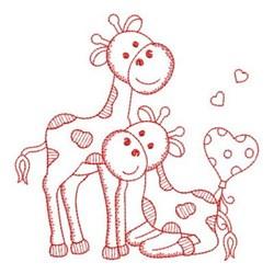 Redwork Friends Giraffes embroidery design