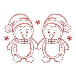 Redwork Friends Penguins embroidery design