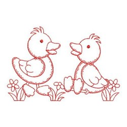 Redwork Friends Ducks embroidery design