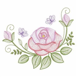 Rippled Roses & Butterflies embroidery design