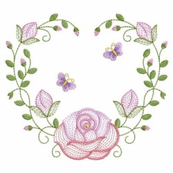 Rippled Roses Heart embroidery design