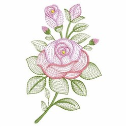 Rippled Pink Roses embroidery design