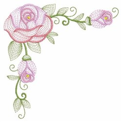 Rippled Roses Corner embroidery design