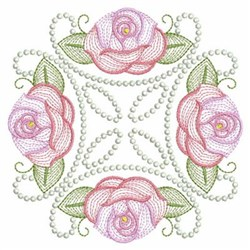 Rippled Roses Block embroidery design