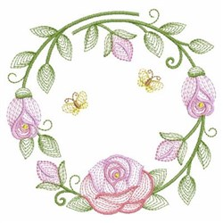 Rippled Roses Circle embroidery design