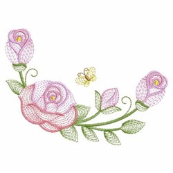 Rippled Roses & Butterfly embroidery design