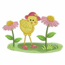 Funky Floral Chick embroidery design