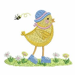 Funky Chick & Bee embroidery design