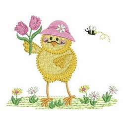 Funky Chick & Flowers embroidery design