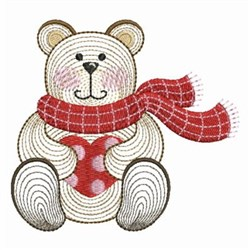 Valentine Teddy & Scarf embroidery design