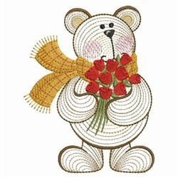 Valentine Teddy & Roses embroidery design