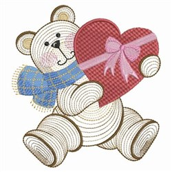 Valentine Teddy & Chocolates embroidery design