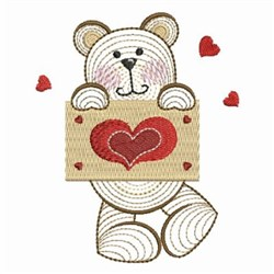 Rippled Valentine Teddy embroidery design