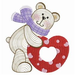 Valentine Teddy & Heart embroidery design