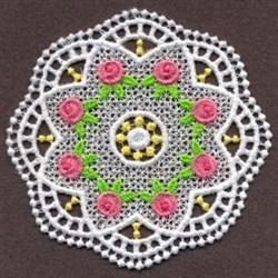 FSL Delicate Roses Doily embroidery design